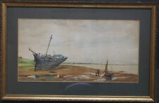 FRAMED WATERCOLOUR PAINTING signed /dated 1881 A BOAT MOORED AT LOW TIDE
