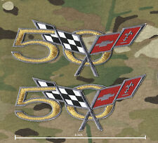 CHEVY CORVETTE RACEING GOLD-THREAD VETTE 50-YEAR ANNIVERSARY IRON-ON PATCH X 2