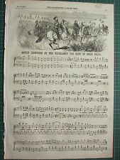 1854 DATED ANTIQUE ILN PRINT ~ SHEET MUSIC MARCH COMPOSED BY WIFE OF OMER PACHA