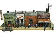 HO Custom Built Painted Weathered Downtown City Block Building w/Alley Diorama