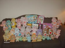 Huge 1980's up Kenner Care Bears Plush Lot Figures record books tv tray more!!!!