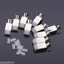 10pcs Plated Cat7 RJ45 Network Cable Connector 8P8C Coated Head with Tail Clamp