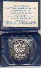 1980 32nd ANNIVERSARY ISRAEL-EGYPT PEACE BU SILVER COIN +COA+ CASE