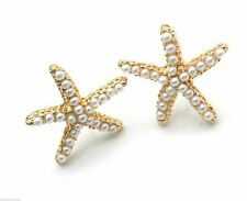 """New Starfish Earrings Gold Plated Faux Tiny Pearls Women Pierced 3"""""""