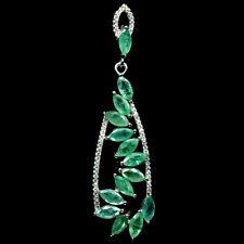 Stunning Natural Transparent AA Green Zambia Emerald 925 Sterling Silver Pendant