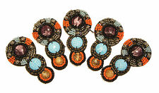 Lot of (5) Sew-On Felt Back Beaded Applique orange blue craft beads for clothes