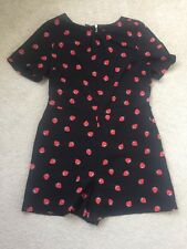 Ladies OASIS Black & Strawberry Print All In One Shorts Jump Suit Size 12