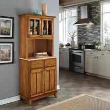 Country Wooden Cabinet Hutch Cupboard Oak Standing Storage Drawers China Dishes