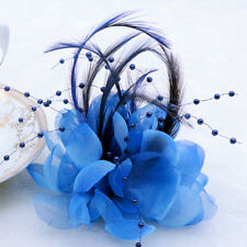 NEW Sapphire Pearl Corsage Hair Clip Flower Fascinator Feather Hairpin Wedding