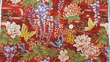 Kona Bay Asian Fabric 2007 Metallic BTY BUTT-01 Red Butterfly FLORAL Mum COTTON