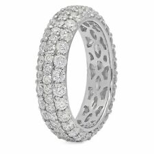 2.70 CT 14K White Gold Round Cut Diamond Engagement Eternity Ring Wedding Band