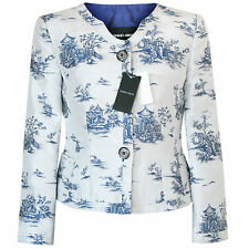 GIORGIO ARMANI $3,425 blue and white chinese-porcelain brocade jacket 40/4 NEW