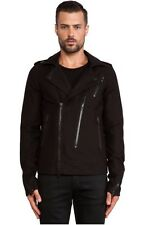 NWT $450 Hudson Jeans The Biker Raw Black Moto Men's Jacket | Sz S | B056