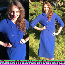 Vtg 60s MOD WOOL WIGGLE SUIT DRESS blue SECRETARY PIN UP Jacket Mad Men Era M L