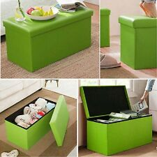 Large Folding Storage GREEN FAUX LEATHER  Pouffe DOUBLE ottoman Seat Stool Box