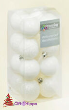 Christmas Tree Decoration - 50mm White Baubles - 16 Pack - Shatterproof Baubles