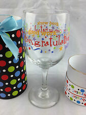 handpainted CELEBRATION wine glass in gift box
