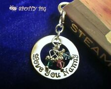 Personalised Bookmark & ANY NAME + Crystal Birthstones XMAS gift Mum Grandpa Dad