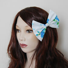 Floral blue white vintage fancy kawaii cute pin up rockabilly large hair bow