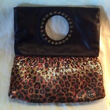 Whiting & Davis Leopard Print Leather Handbag Metal Mesh Evening Clutch Purse