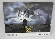 Disney Harry Potter Golden Snitch Charm Pendant Black Cord Bracelet Wristband