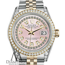 Rolex Stainless Steel and Gold 36 mm Datejust Watch Pink String Diamond Dial