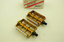 """OLD SCHOOL BMX GOLD RAT TRAP 1/2"""" PEDALS NEW OLD STOCK MADE IN 80's SALE REDUCED"""
