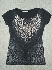 MAURICES BLACK TEE TOP BLING HEART W/ TRIBAL WINGS TATTOO GRAPHICS SIZE SMALL