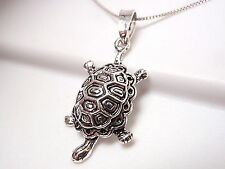 Turtle with Beautiful Shell Necklace 925 Sterling Silver Corona Sun Jewelry