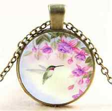 Vintage Hummingbird With Flower Cabochon Glass Bronze Pendant Necklace