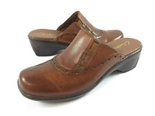Clarks Womens 9M Brown leather Mules Clogs Slip on Comfort Shoes Heels