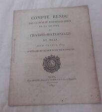 Compte Rendu - 1819 - Société Charité Maternelle - Metz - Morlane