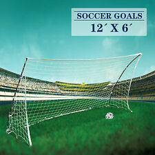 Gray Frame 12' x 6'  Portable Football Goal Soccer Net Quick Ball Sport Training