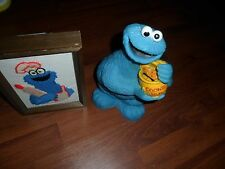 """Vint Cookie Monster Piggy Bank Sesame Street Muppets 10"""" + embroidered picture"""