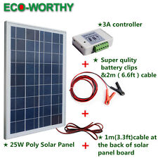 25W 12V Solar Module Kit: Solar Panel+30A Battery Clips + 3A Charge Controller