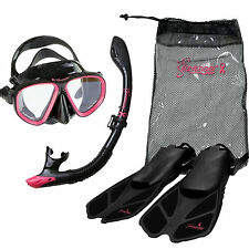Seavenger Diving Set (Pink )S/M  Adult Size Dry Snorkel Trek Fin Mask Gear Bag