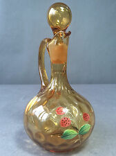 Vintage Czech Bohemian Blown Art Glass Amber Cruet Thumbprint Enamel Decorated