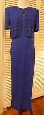 L Lawrence Kazar New York Beaded Gown - Royal Blue and Navy Beads Pink Beads