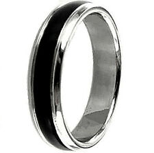 TITANIUM Plain Black - and - White Accents Ring, sizes 6, 7, 8 - NEW - in Box!