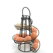 Kitchen Egg Storage Freestanding Rack Skelter Tray Swirl Spiral Holder Black
