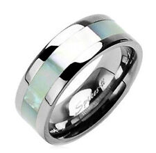 Spikes Titanium Band Ring with Mother of Pearl Inlay Size 11