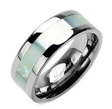 Spikes Titanium Band Ring with Mother of Pearl Inlay Size 9