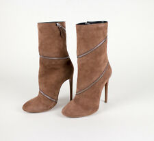 "NIB ALAIA Nude Suede Wrap Around Zip 4.5"" High Heels Boots Shoes 8.5/38.5 $2400"