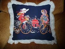 """Decorative 16"""" Square Pillow with Old Fashioned Scene and Lace Trim"""