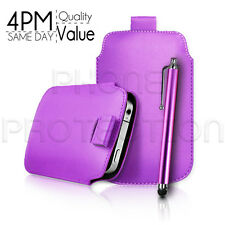 LEATHER PULL TAB SKIN CASE COVER POUCH AND STYLUS PEN FOR VARIOUS APPLE PHONES