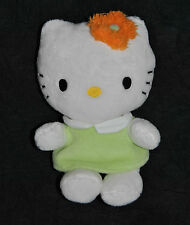 Peluche Doudou Chat HELLO KITTY SANRIO Jemini Blanc Robe Vert Fleur Orange 15 Cm