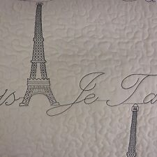 Sleeping Partners 3PC KING QUILT SET PARIS EMBROIDERED Eiffel Tower Cream Gray