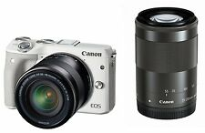 Canon EOS M3 Digital Camera 18-55/55-200mm Double Zoom Kit White *From Japan*