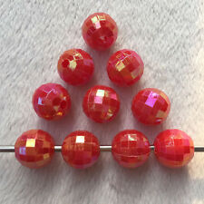 40pcs 10mm Acrylic DIY Earth beads cut Faceted red ab round beads Jewelry