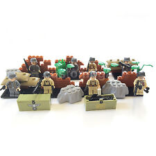 CUSTOM WW2 Military Army 8 Minifigures + Weapons & Lego Bricks